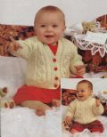 Digital Download PDF Vintage Knitting Pattern Baby Aran Style Baby Sweater & Cardigan 16-22''